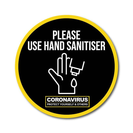 Use Hand Sanitiser Vinyl Circular Sticker, 10 pack – 105mm and 300mm