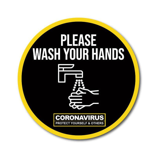 Wash Your Hands Vinyl Circular Sticker, 10 pack – 105mm and 300mm