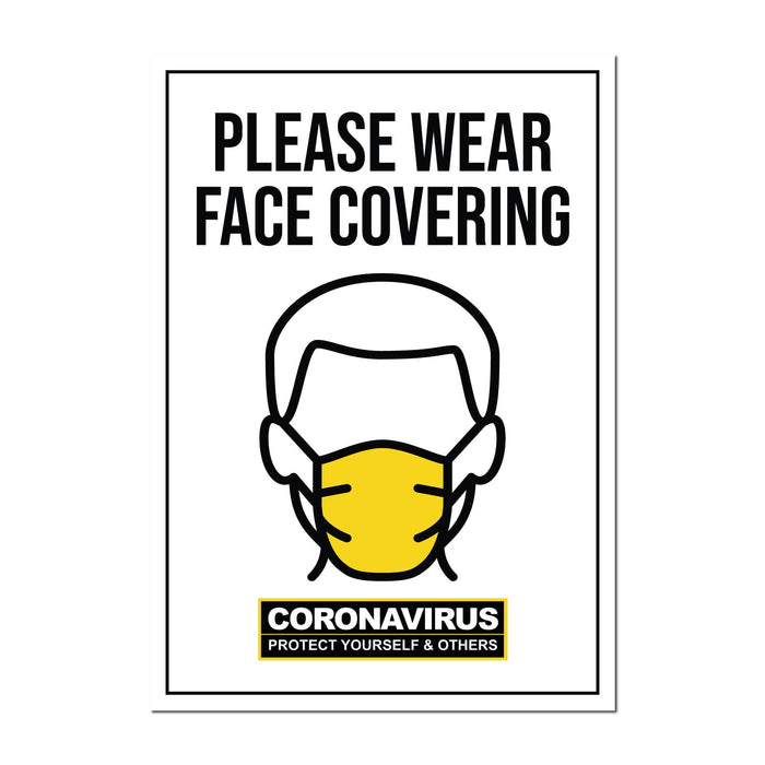 Please Wear Face Covering, Static Cling Window Signs For Shops