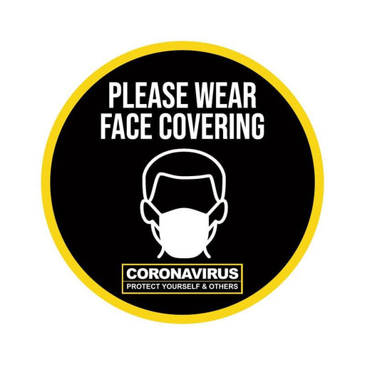 Please Wear Face Covering, Vinyl Circular Sticker, 10 pack – 105mm and 300mm