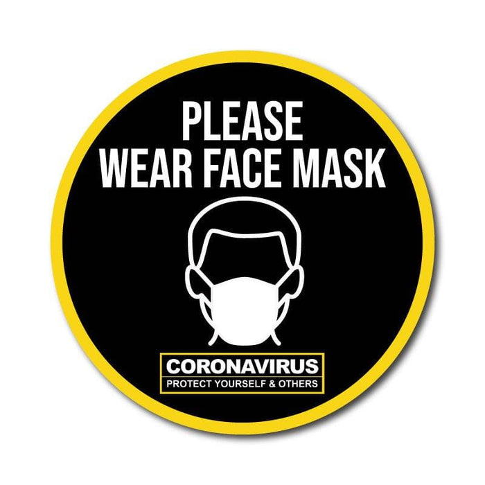 Please Wear Face Mask, Vinyl Circular Sticker, 10 pack – 105mm and 300mm