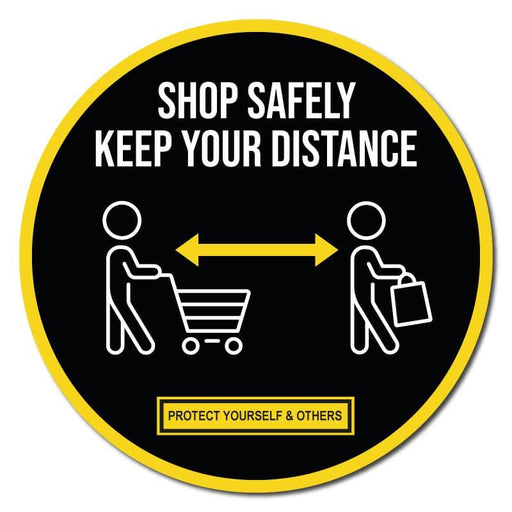Shop Safely Keep Your Distance, Indoor Circle Floor Signage, 300mm Diameter (Pack of 5)