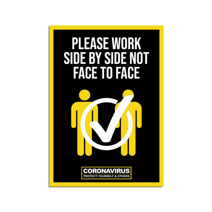 Work Side By Side Poster Warehouse & Factory Safety Sign (Pack of 5)