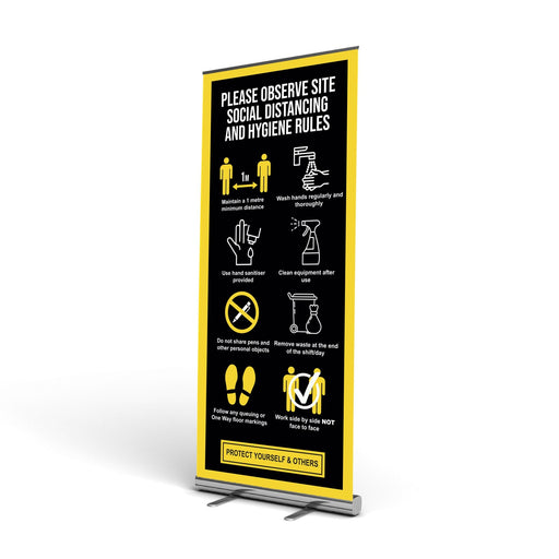 1 Metre Summary Site Guidance, Pop Up Banner (Social Distancing)