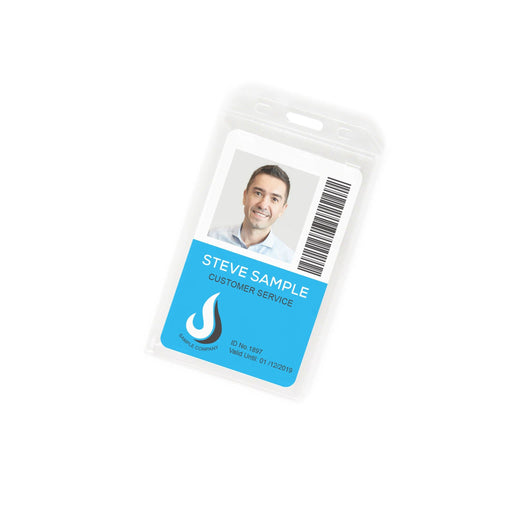 Clear Portrait ID Card Holder with thumbslot with card