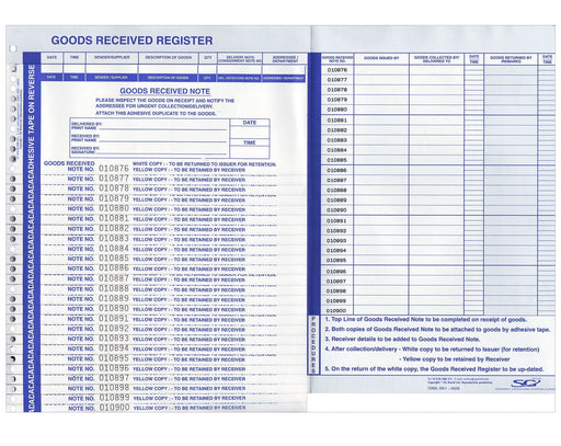 Goods Received Register with slips