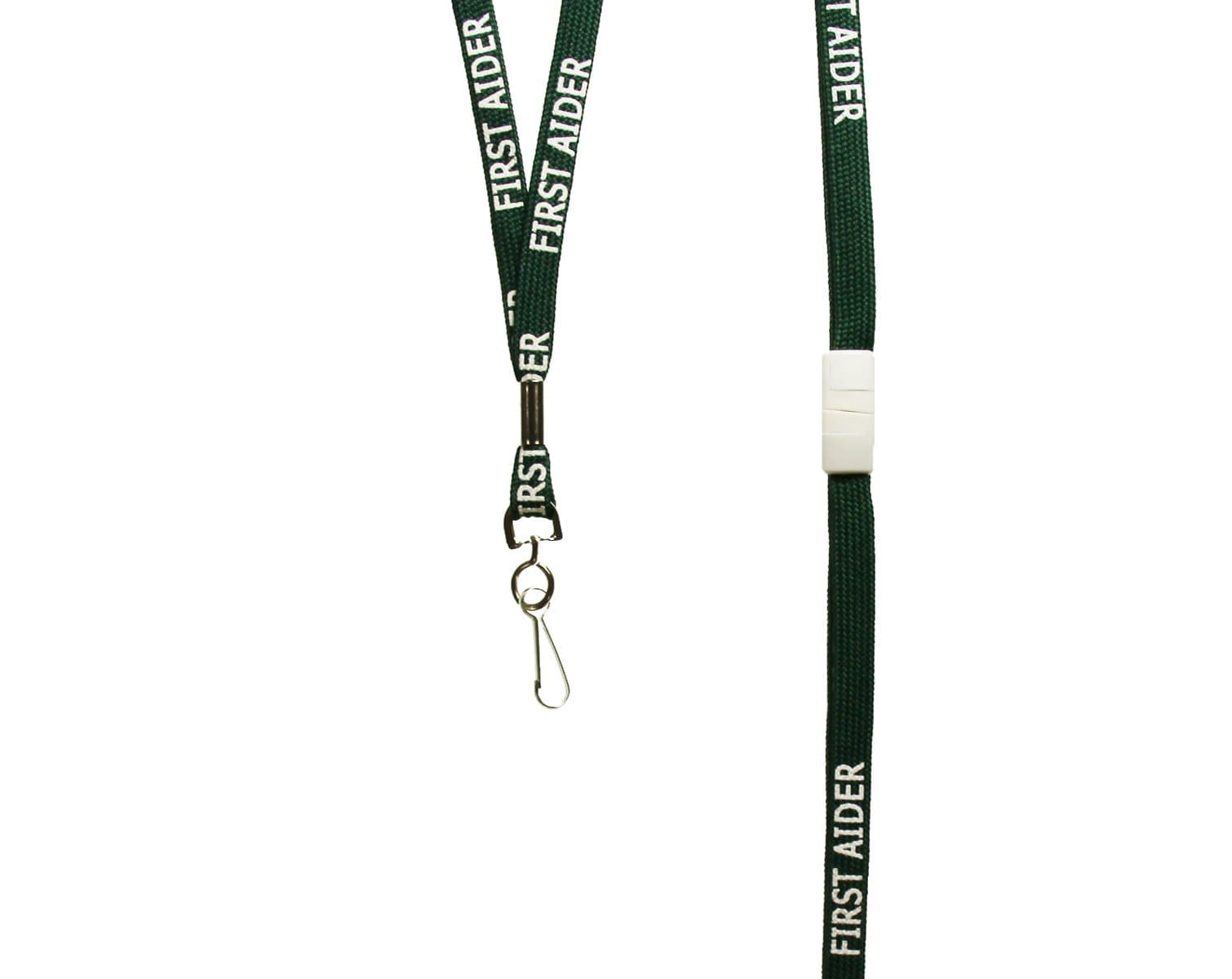 Green lanyard pre-printed with First Aider