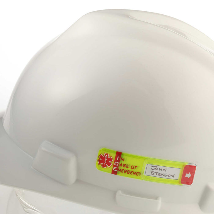 Worker Emergency ID  Tag with Window on hard hat