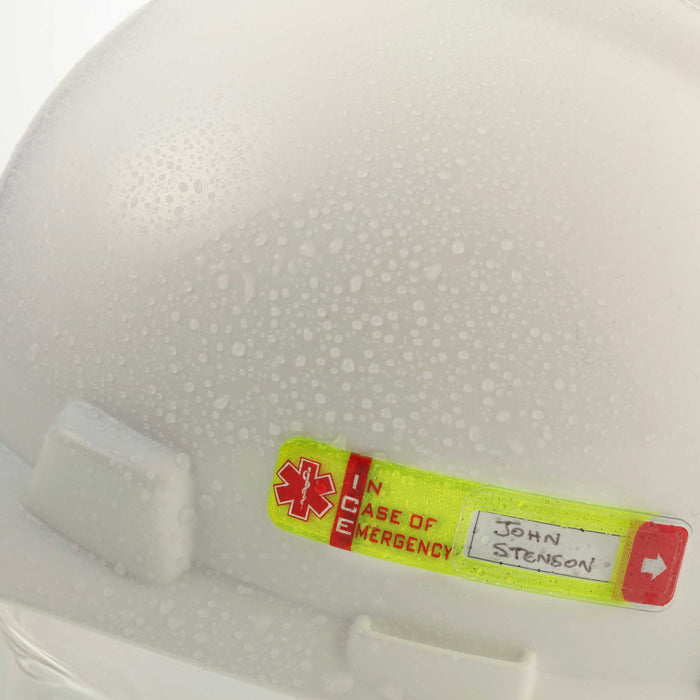 Worker Emergency ID  Tag with Window  on wet hard hat