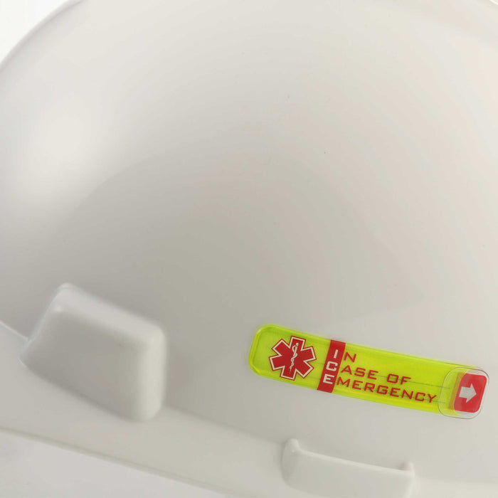 Worker Emergency ID Adhesive Tag on hard hat