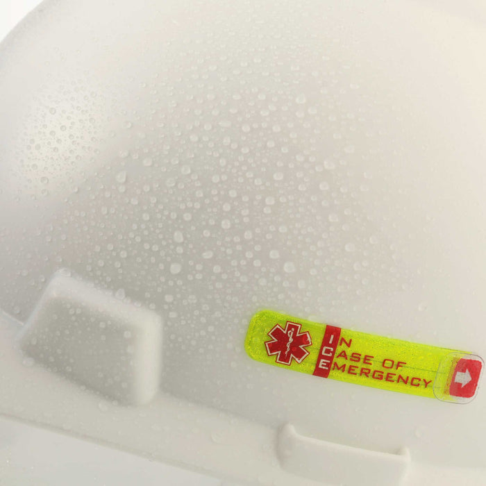 Worker Emergency ID Adhesive Tag  on wet hard hat