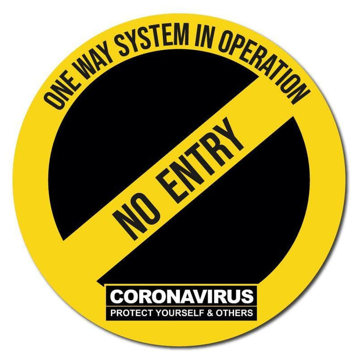 One Way System In Operation No Entry, Social Distancing Circular Floor Signage, Outdoor/Heavy Duty Usage - 60cm Diameter