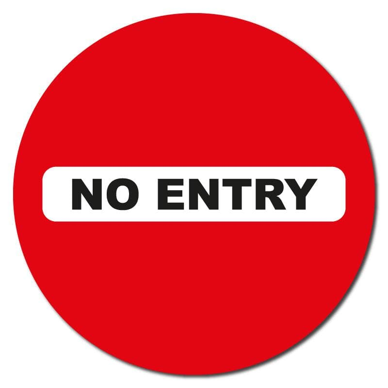 No Entry, Anti Slip Circle Floor Social Distancing Sign, 60cm Diameter