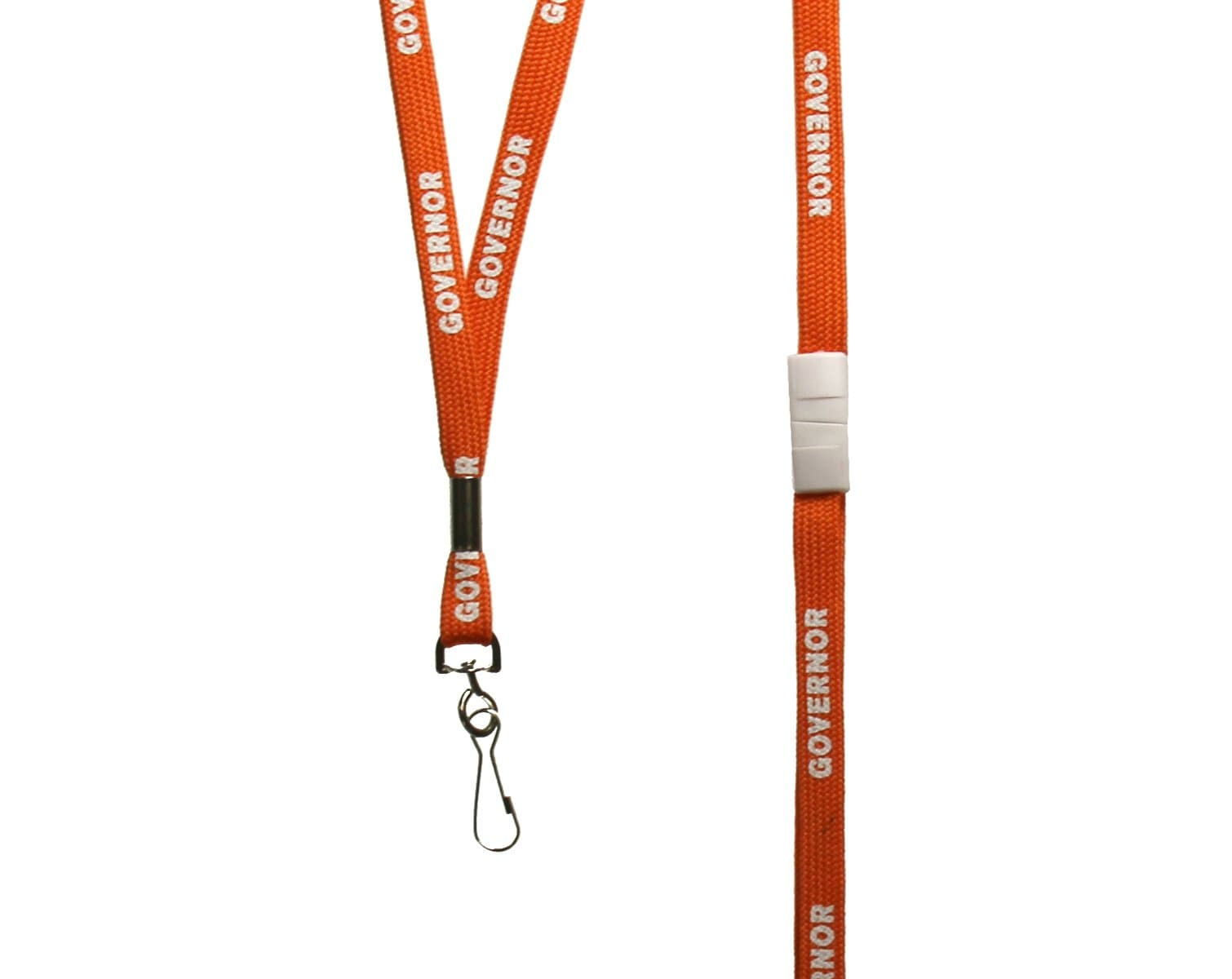 Orange lanyard pre-printed with Governor