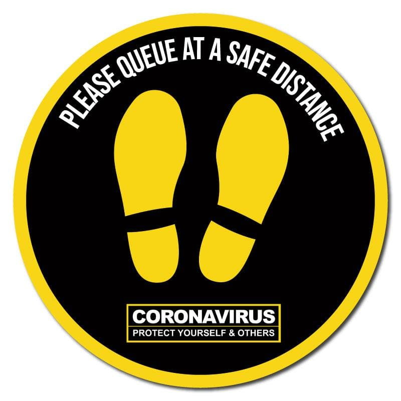 Please Queue At A Safe Distance, Social Distancing Circular Floor Signage, Outdoor/Heavy Duty Usage - 60cm Diameter