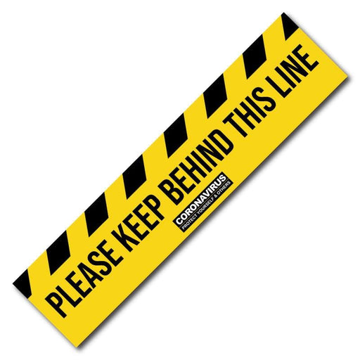Please Keep Behind This Line, Social Distancing Floor Signage, Outdoor/Heavy Duty Usage - 275 x 1200mm