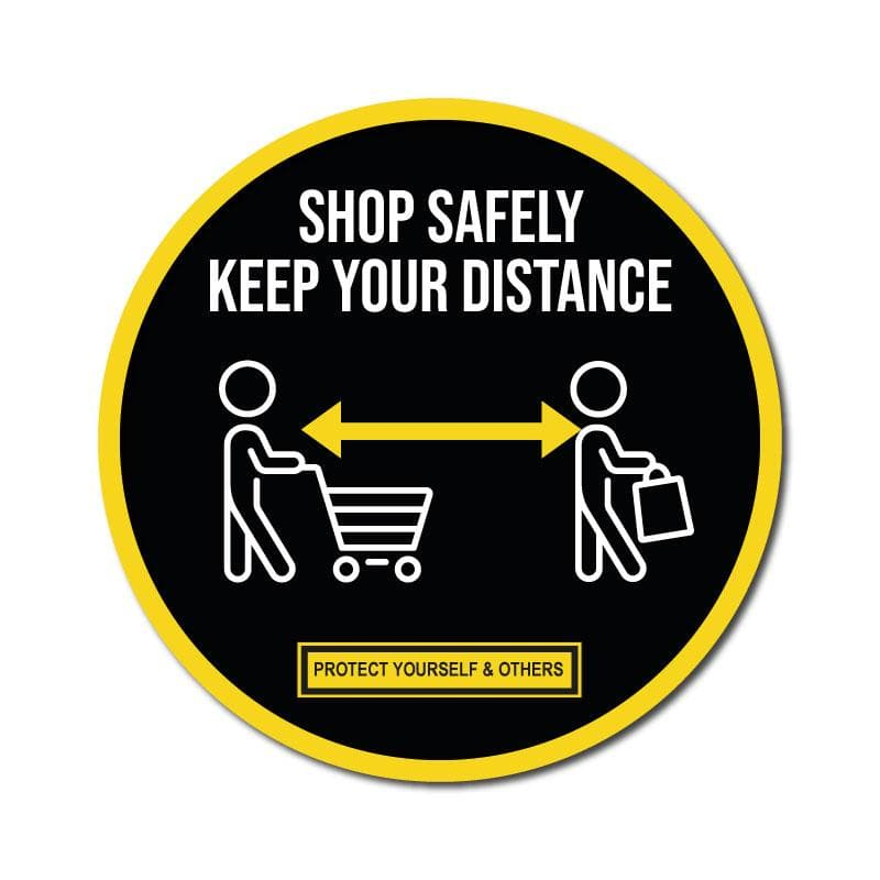 Shop Safely Keep Your Distance, Vinyl Circular Sticker, 10 pack – 105mm and 300mm