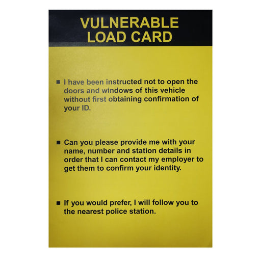 Vulnerable Load Card viewed from outside vehicle