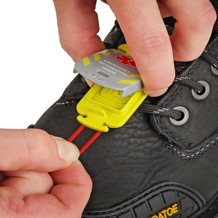 Worker Emegency ID Tag on work boot
