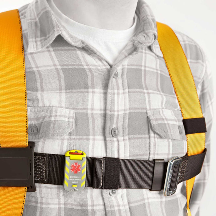 Worker Emergency ID Tag on harness