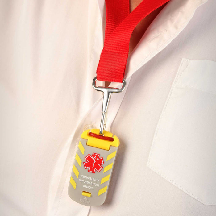Worker Emergency ID Tag on Lanyard