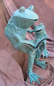 Copper Sitting Parent Child Frog Sculpture (Human sized) Call for Pricing