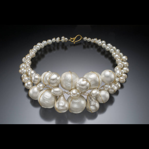 Cotton Pearl Collar Necklace