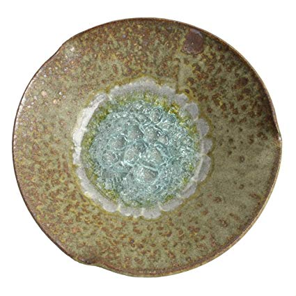 Extra Large  Pinched Bowl- Crackled Glass