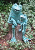 Parent/Child Reading Outdoor Copper Frog