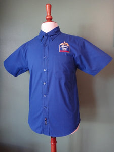 Mens Royal Blue Short-Sleeve Button-Down