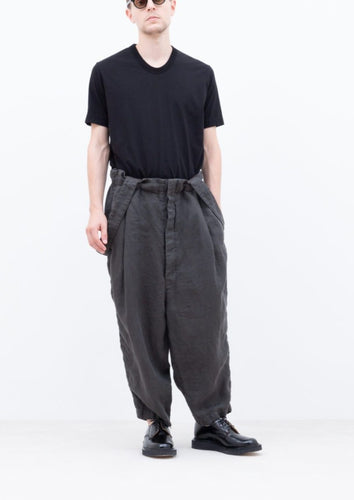 LINEN TYPEWRITER SUSPENDER PANTS