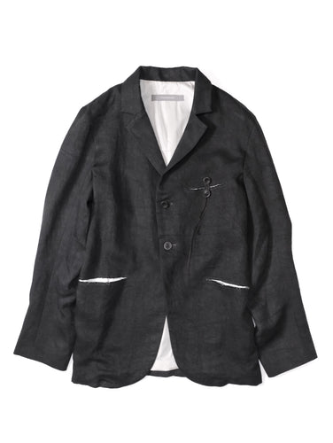 YUTA MATSUOKA,RAW CUT POCKET LINEN LAPEL JACKET,medium rare online