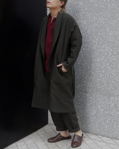 COTTON LINEN WOOL GOWN COAT