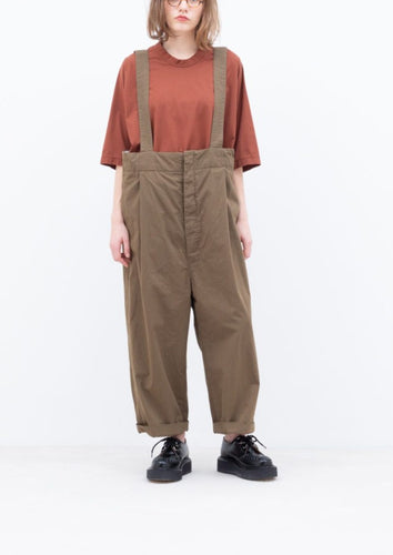 COTTON TYPEWRITER SUSPENDER PANTS