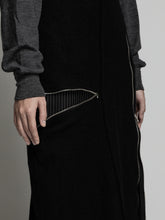 Load image into Gallery viewer, The viridi-anne,WOOL STRIPE PATCH ZIP UP SKIRT,medium rare online