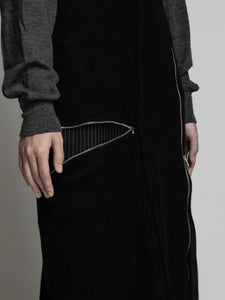The viridi-anne,WOOL STRIPE PATCH ZIP UP SKIRT,medium rare online