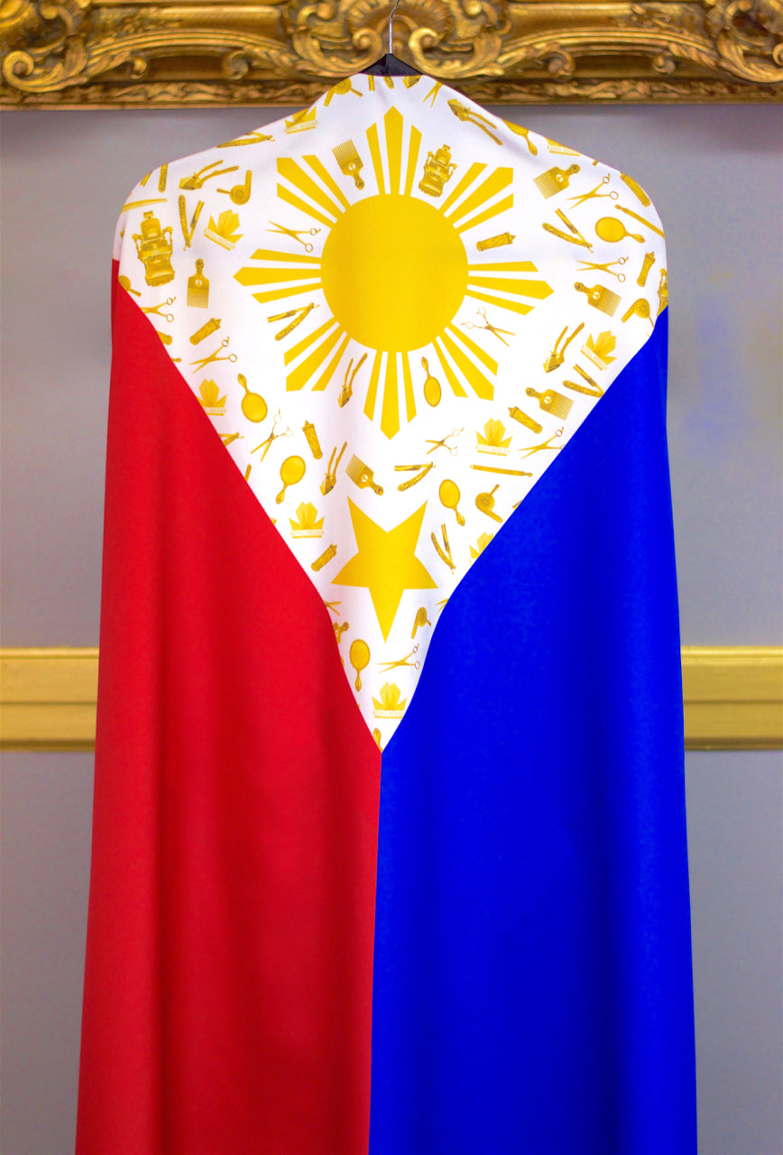 """Shining Kingdom"" Philippines Hair Cutting Cape - Filipino Flag Cape - Barber Capes- King Midas Empire"