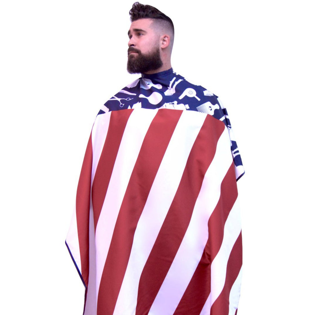 american flag barber cape american flag barber cutting cape usa flag barber cape american flag hair cutting cape barber cape hair cutting capes for men barber cape for men hair cutting cape King Midas cape barbershop cape professional barber cape with snap buttons hair styling cape