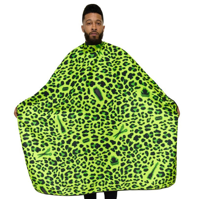 leopard barber capes-  barber capes -styling capes- professional hair cutting capes -extra large hair cutting cape -hair dresssers capes - barbers cape -king midas capes