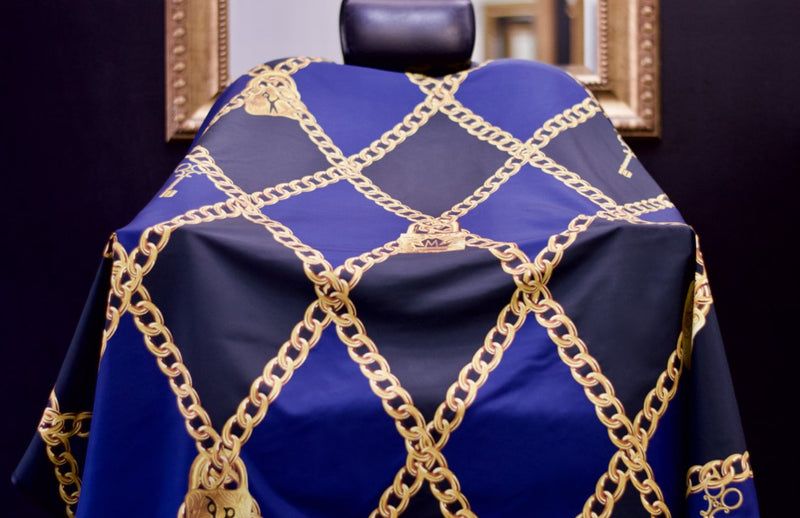 Lock & Key Barber Cape -  Barber Capes - King Midas Capes - Navy blue capes