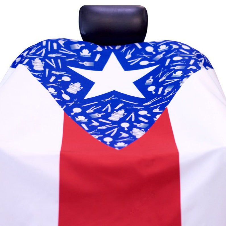"""BorinKING"" Puerto Rico Barber Cape - Puerto Rico Flag Cape - King Midas Capes"