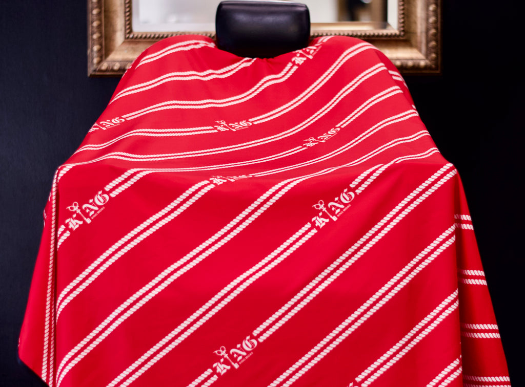 elastic neck barber cape - barber capes - red- hair cutting capes- king midas capes