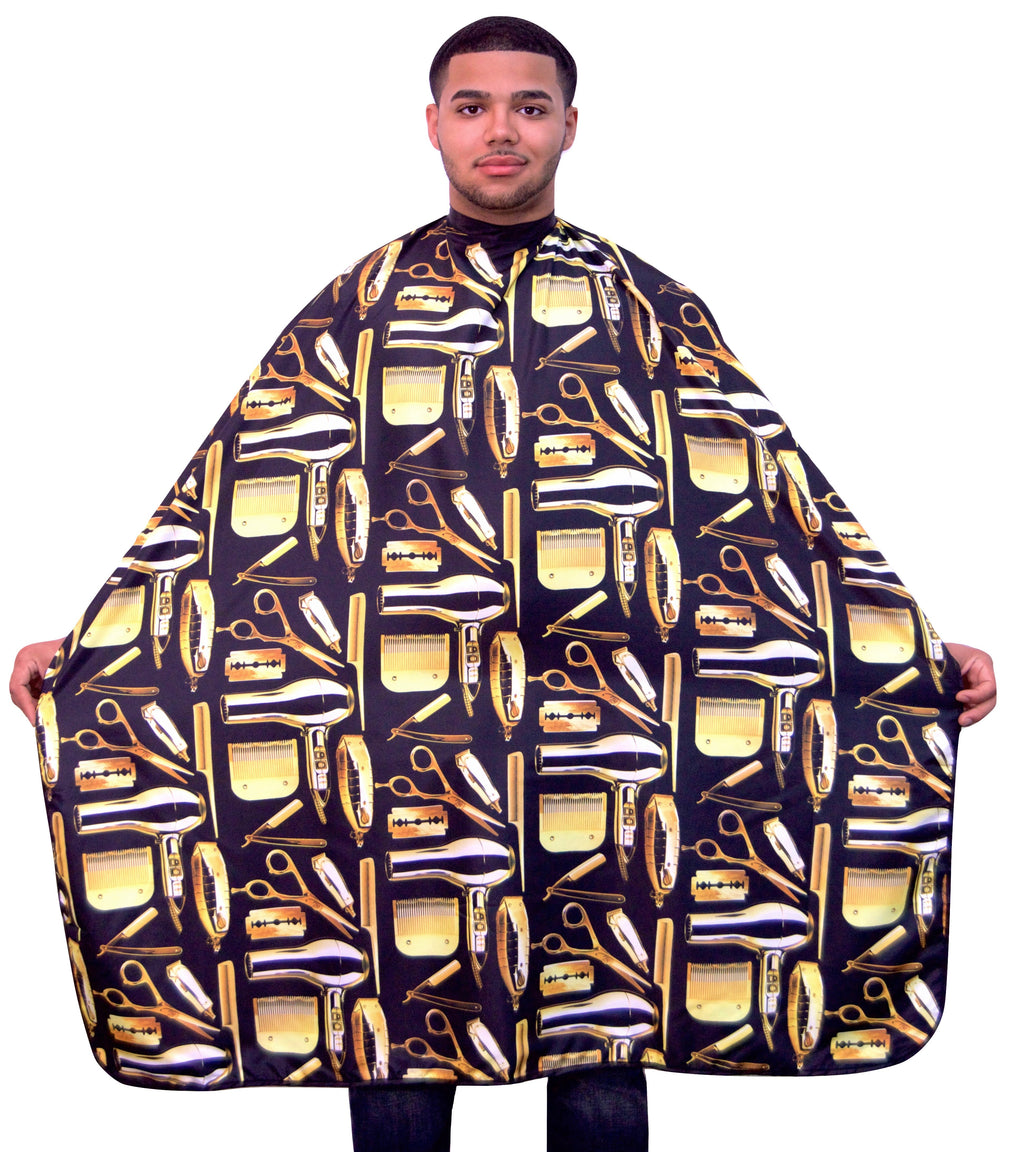 Barber Capes - Barber Cape - hair cutting capes- snap button capes- best barber capes-  barber capes with designs- barber smocks and capes - barber capes for sale- barber supplies -King Midas Empire