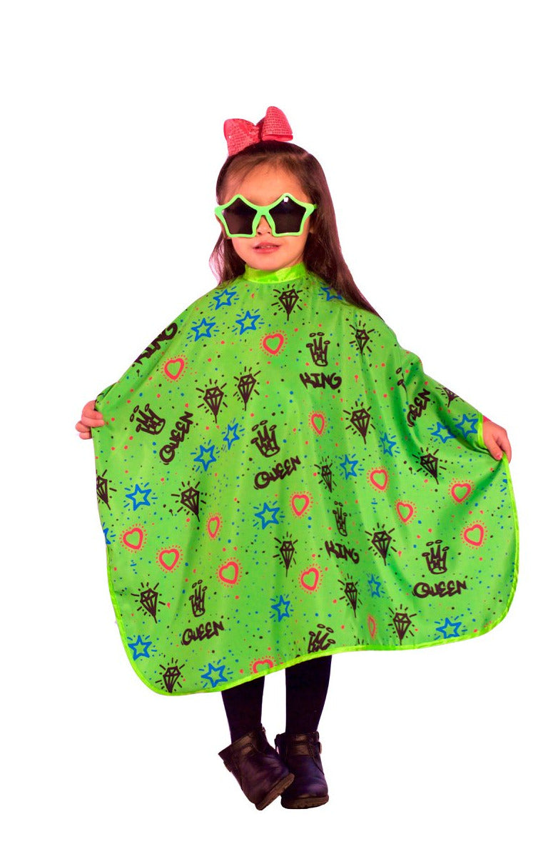kids barber capes- kids hair cutting capes  -kids haircut cape - Kiddie Graffiti Kids Hair Cutting Cape Green - Barber Cape - king midas capes