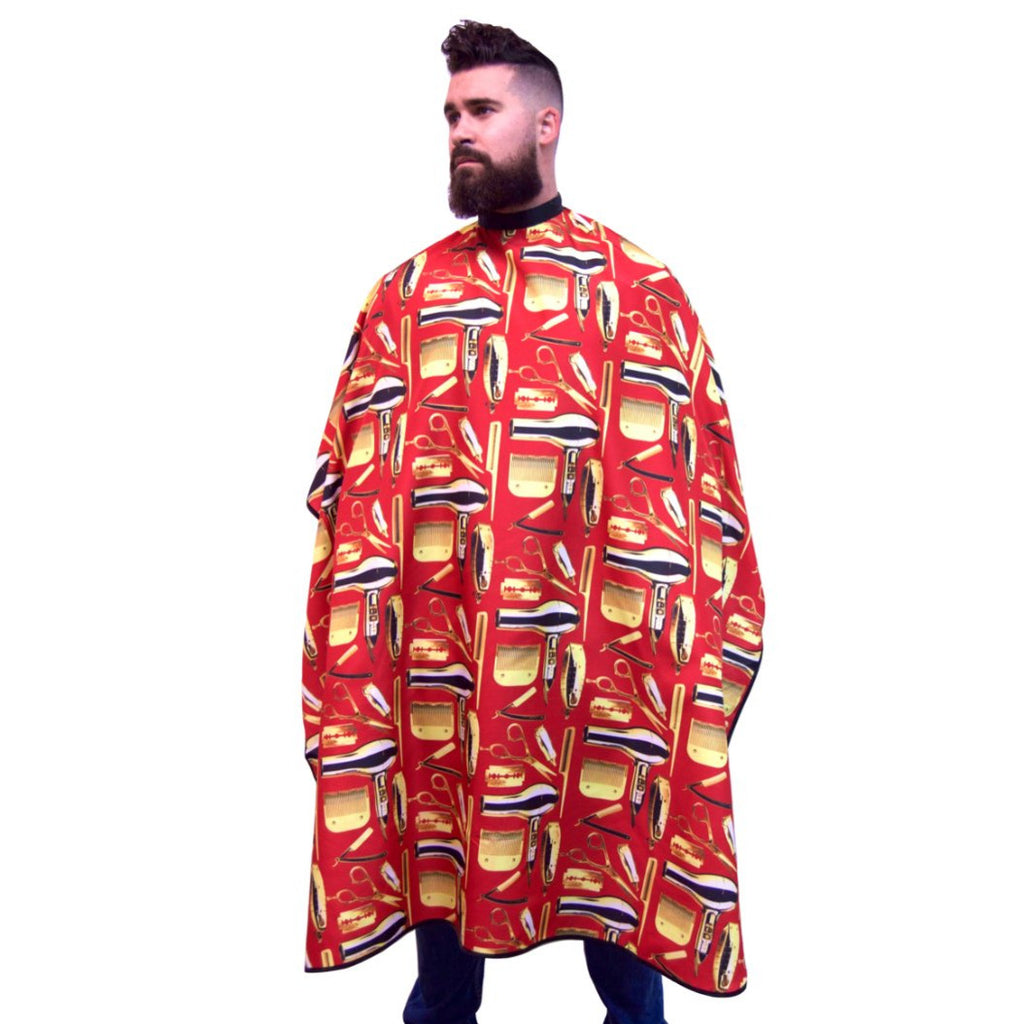 red barber cape-Barber Capes - Barber Cape - hair cutting capes- hair dresser capes - best barber capes-  barber capes with designs- barber smocks and capes - barber capes for sale- barber supplies -King Midas Empire