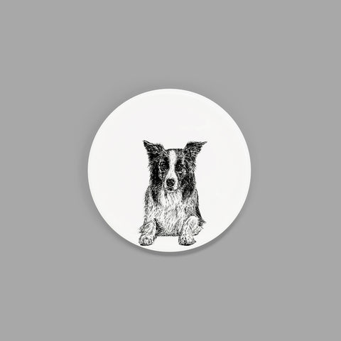 BORDER COLLIE - CHINA COASTER / STANDARD MUG LID (8.5cm DIAMETER) - doggily