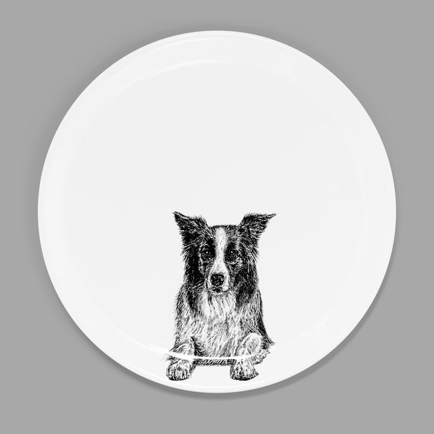 BORDER COLLIE - STARTER PLATE  (26.5cm DIAMETER) - doggily