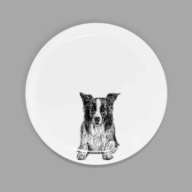 BORDER COLLIE - SIDE PLATE  (21cm DIAMETER) - doggily