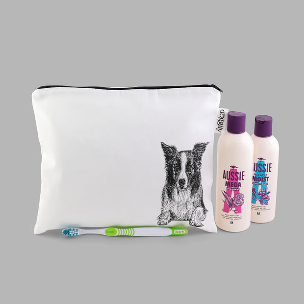 BORDER COLLIE - WASH BAG WITH ZIP - doggily