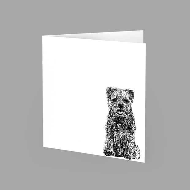 BORDER TERRIER - GREETING CARD 15cm x 15cm (BLANK INSIDE) - doggily